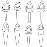 Vector set of fire torch. Hand drawn cartoon, doodle illustration Stock Photos