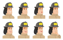 Vector set of firefighter characters. Stock Photos