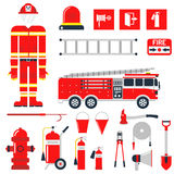Vector Set Firefighter Fire safety Flat Icons and Symbols. Stock Image