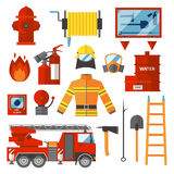 Vector Set Firefighter Fire safety Flat Icons and Symbols. Fire safety equipment and Fire safety emergency icons set. Vector Set Firefighter Fire safety Flat Stock Photography