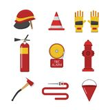 Vector set firefighter fire safety icons. Fire safety equipment and fire safety emergency icons set. Vector set firefighter fire safety flat Icons and symbols Royalty Free Stock Photography