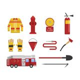 Vector set firefighter fire safety icons. Fire safety equipment and fire safety emergency icons set. Vector set firefighter fire safety flat Icons and symbols Royalty Free Stock Photo