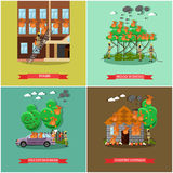 Vector set of fireman posters in flat style. Vector set of fireman posters. Stairs, Wood burning, Fire extinguisher and Country cottage flat style design Royalty Free Stock Photos
