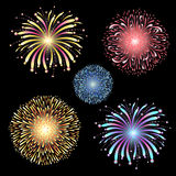 Vector set of fireworks Stock Photo