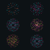 Vector set with fireworks on dark background Royalty Free Stock Photos