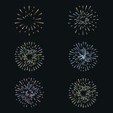 Vector set with fireworks on dark background Royalty Free Stock Images