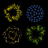 Vector set of fireworks Royalty Free Stock Images