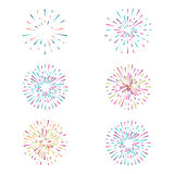 Vector set with fireworks on white background Royalty Free Stock Photos