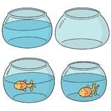 Vector set of fish bowl. Hand drawn cartoon, doodle illustration Stock Images