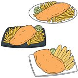Vector set of fish and chips. Hand drawn cartoon, doodle illustration Stock Photo