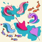 Vector set with fish Royalty Free Stock Photo