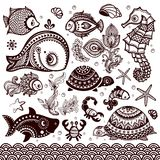 Vector set of fish  and flowers with ornaments Royalty Free Stock Images