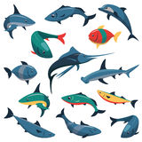 Vector set of fish icons in flat style Stock Photography