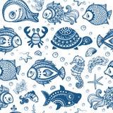 Vector set of fish and shells Stock Photo