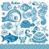 Vector set of fish and shells Stock Image