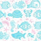 Vector set of fish and shells Royalty Free Stock Image