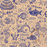 Vector set of fish and shells Royalty Free Stock Images