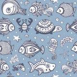 Vector set of fish and shells Royalty Free Stock Image