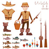 Vector set with fisherman and fishing some objects Royalty Free Stock Images