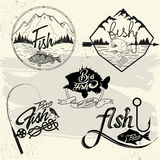 Vector set of fishing club labels, design elements Stock Photography