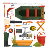 Vector set of fishing equipment icons in flat style Royalty Free Stock Image
