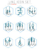 Vector set of fishing hooks line icons with. Vector set of fishing hooks icons with different knots. Fisherman symbols. Illustration in line style Stock Image