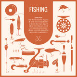 Vector set of Fishing tackle in flat silhouette style. A set of fishing tackle in flat style. Fishing reels, hooks, floats, baits, lures. Vector illustration Royalty Free Stock Image
