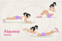 Vector Set of fitness abdominal muscles workout exercises for woman, Royalty Free Stock Images