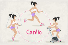 Vector Set of fitness Cardio workout exercises for woman Royalty Free Stock Images