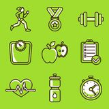 Vector set of fitness icons. And achievement badges in flat outline style - healthy lifestyle and dieting Royalty Free Stock Image