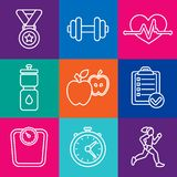 Vector set of fitness icons. And achievement badges in flat outline style - healthy lifestyle and dieting Stock Images