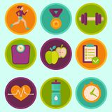 Vector set of fitness icons Royalty Free Stock Images