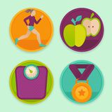 Vector set of fitness icons. And achievement  badges in flat style - healthy lifestyle and dieting Royalty Free Stock Images