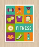 Vector set of fitness icons on greeting card. Vector set of fitness icons and achievement  badges in flat style - healthy lifestyle and dieting Stock Photos