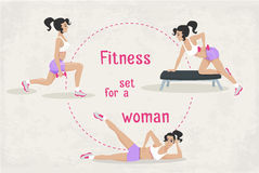 Vector Set of fitness workout exercises for a woman . Royalty Free Stock Photos