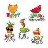 Vector set of five cool stickers, patches with food and summer symbols. Cat, pineapple, cup, cake with lettering Royalty Free Stock Photo