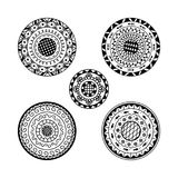 Vector set of five mandalas. Ethnic decorative round ornament Royalty Free Stock Photo