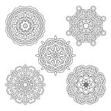 Vector set from five round black and white mandalas. Vector mandalas. Ethnic decorative elements. Hand drawn mandalas Stock Images
