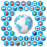 Vector set of flag icons with globe Stock Photography