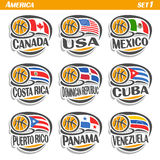 Vector set Flags of American Countries with Basketball Ball Stock Photography