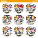 Vector set Flags of European Countries with Basketball Ball Stock Photos