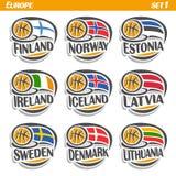 Vector set Flags of European Countries with Basketball Ball. Logo national basketball Teams, Sport group countries of Europe, icons european flag fiba team Royalty Free Stock Photos