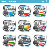 Vector set Flags of European Countries with Ice Hockey Puck Royalty Free Stock Image