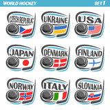 Vector set Flags of European Countries with Ice Hockey Puck Stock Image
