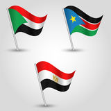 Vector set of flags states of african nile valley on silver pole - icon of states sudan, south sudan and egypt Stock Image