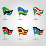 Vector set of flags uganda, rwanda, burundi, kenya, tanzania and south sudan on silver pole - icon states of east african c Stock Photo