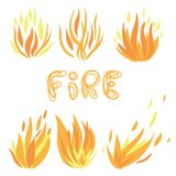Vector set of flame. A collection of stylized fires. Abstract fire. Royalty Free Stock Image