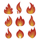 Vector set of flame. A collection of stylized fires. Abstract fire. Royalty Free Stock Images
