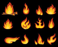 Vector set of flame. A collection of stylized fires. Abstract fire. Stock Photo