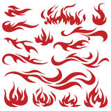 Vector set of flame. A collection of stylized fires. Abstract fire. Tattoo. Royalty Free Stock Photos